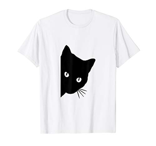 Niedlich guckt schwarze Katze Lustige Peeking Kätzchen T-Shirt -