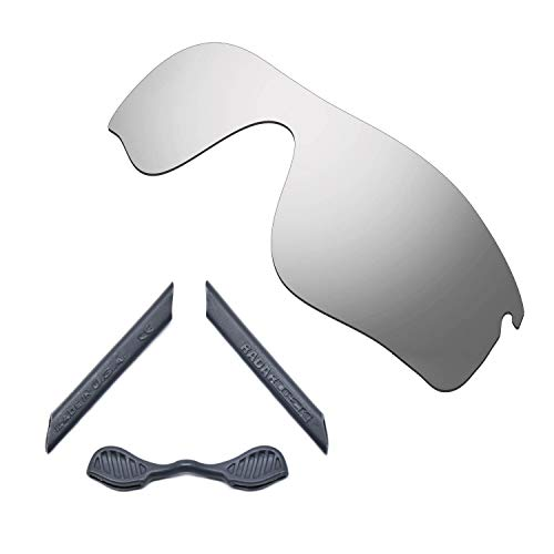 HKUCO For Oakley Radarlock Path Silver Polarized Replacement Lenses And Grey Earsocks Rubber Kit