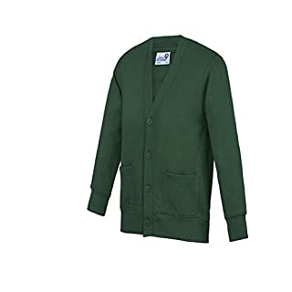 Absab Ltd AWDis Academy Kids Cardigan Plain Casual School Uniform Sweatshirt Academy/Green 13 Years