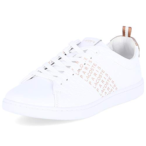 Lacoste Carnaby Evo Sneaker Damen weiß/rosé Gold, 7.5 UK - 41 EU - 9.5 US