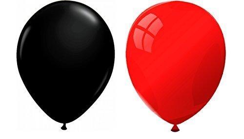 INERRA Globos - Paquete de 50 Mezclado (25 x Rojo & 25 x Negro) Látex 10' for Helio O Aire Cumpleaños Y Boda