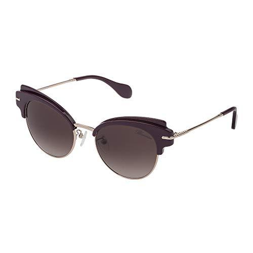 Blumarine occhiali da sole donna prugna glitter lucido lenti brown gradient pink sbm120 0gbg 53-20-135