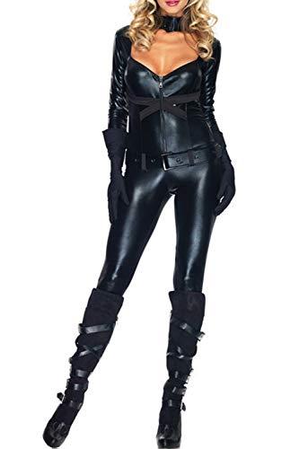05746ba5c5a1 Vosujotis Donna Pasqua Costume Catwoman Cuoio Slim Cosplay Completi black1  One Size