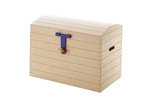 Massivholz Spielzeugkiste Truhe (Ticaa Spielzeugkiste Aufbewahrungstruhe Piratentruhe Birke L)