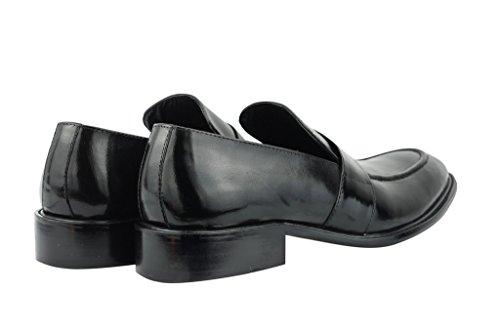 Pour Homme En Cuir Véritable Noir et Marron Clair Vintage mod Smart Penny Flâneur Chaussures UK 6,5789101111,5 Noir - noir