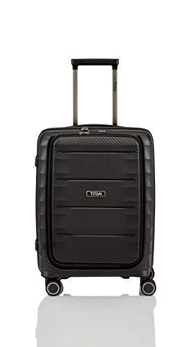 """TITAN Super Leichter Hartschalenkoffer """"Highlight"""" in 4 Größen im Carbon Look, Handgepäck mit Vortasche Koffer, 55 cm, 42 Liter, Black"""