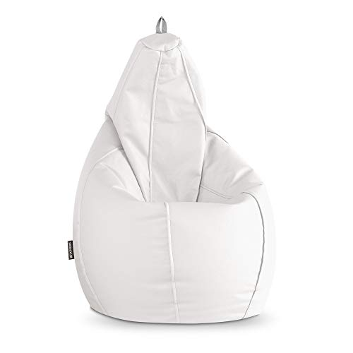 HAPPERS Puff Pera Polipiel Indoor Blanco XL: Amazon.es: Hogar