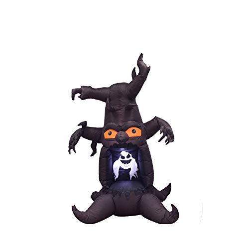 Qys 2,4 M Halloween Aufblasbar Geisterbaum Horror-Geist LED-Beleuchtung Thema Tanz Szenen Ordnen Dekoration Stütze Braun