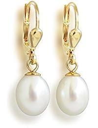 Ohrringe hochwertig vergoldet mit Süßwasser-Zuchtperlen, Perlenohrringe, Ohrhänger
