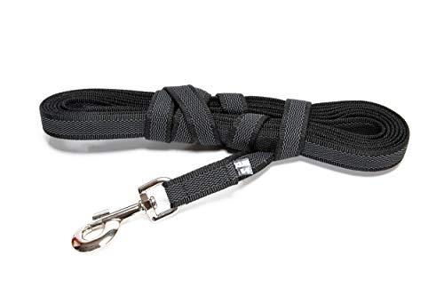 Julius-K9, 216GM-S5 Color & Gray Gumierte Leine Schwarz-Grau 20mm*5 m mit Schlaufe, max. für 50 kg Hunde