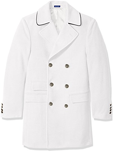 STACY ADAMS Men's Big & Tall Tomy Double Breasted 36 Inch Topcoat, Winter White, 42 (Mens Winter Coats Big And Tall)
