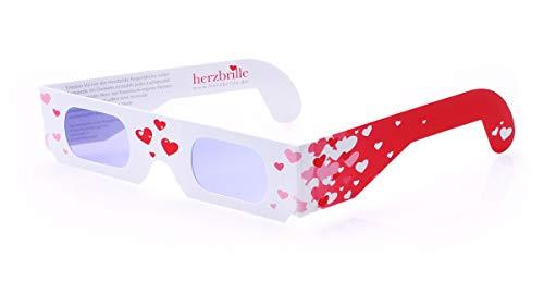 Die Herzbrille Schwärmerei (5 Stück) - Aufsetzen und Herzen sehen! Ideal für Ihre Hochzeit, als Geschenk oder Mitgebsel   3D-Brillen mit Herzeffekt
