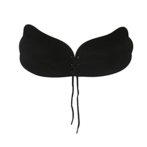 VEMOW Women Wings Of The Goddess Instant Breast Lift Invisible Silicone Push Up Bra (A, Black)