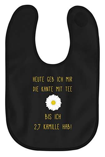 Piasana Lustiger Spruch Witz Kamille Tee Alkohol Ironisch - Nicht nur für Teetrinker - Baby Lätzchen -Einheitsgröße-Schwarz -