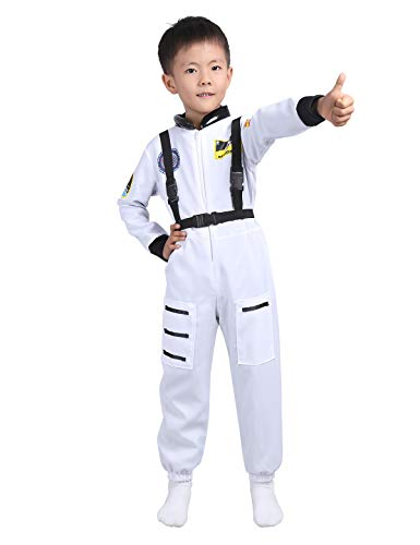dPois Kinder Jumpsuit Astronaut Kostüm Spaceman Kostüm Weltraum Kostüm Raumfahrer Weltall Fahrer Anzug Rollenspiel Langarm Overall mit Trägern Karneval Fasching Weiß 104-116/4-6 Jahre