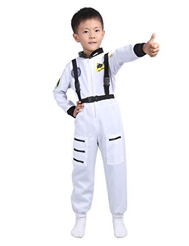 dPois Kinder Jumpsuit Astronaut Kostüm Spaceman Kostüm Weltraum Kostüm Raumfahrer Weltall Fahrer Anzug Rollenspiel Langarm Overall mit Trägern Karneval Fasching Weiß ()