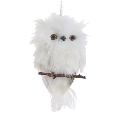 Flach Weiß Feder Eule auf Ast Weihnachten Ornament, 15,2cm lang