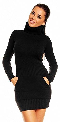 Zeta Ville - Damen Strick-kleid mit Rollkragen Minikleid Mit Tasche vorne 178z (Schwarz, EU 36/38, ONE SIZE)