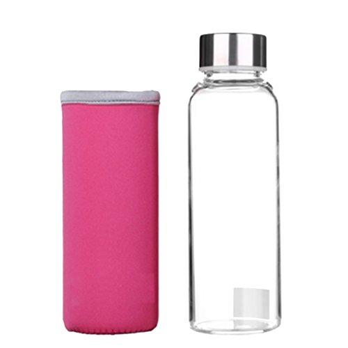 Homyl Glasflasche Trinkflasche Tragbare für unterwegs Sportflasche Glas Wasserflasche zum Mitnehmen von kalten Getränken mit Silikon Tasche - Rosa, 360ml