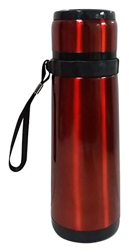 Wise Guys Stainless Steel Vacuum Flask Water / Juice Bottle 600ML for Office Gym School Picnic - Red