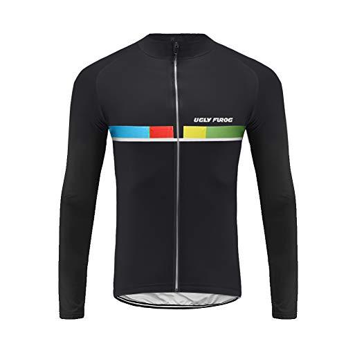 Uglyfrog Sport & Freizeit Radsport Bekleidung Herren Trikots & Shirts Lange Ärmel Winter Fleece Durchgehendem Reißverschluss