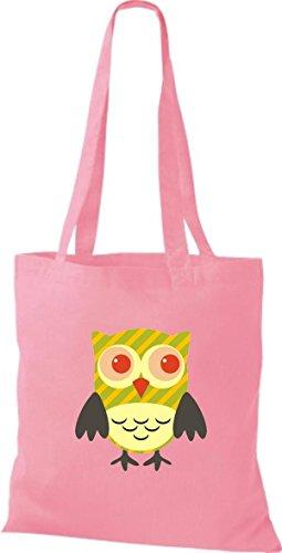 mit Karos diverse Owl Tragetasche Jute Farbe Bunte Eule Punkte Stoffbeutel rosa niedliche Retro ShirtInStyle streifen nRqTBw4n