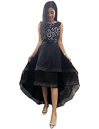 Aimerfeel elegante kurzes vorderes langen schwarzen Pailletten-Blumen-Abschlussball Abendkleid Kleid Größe L-38