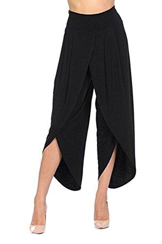 YACUN Le Donne A Livello Informale Gamba Pantaloni Faux Wrap Taglio I Pantaloni Black