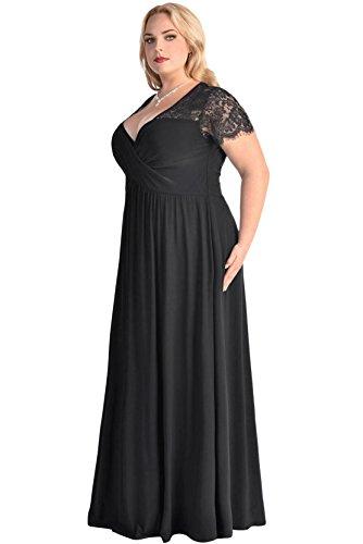 Damen Spitze Yoke Ruched Verdrehte mit hoher Taille Kurzen Ärmel plus Größen Kleid Schwarz