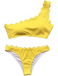 DOGZI Mujer 2019 Tops de Bikini Verano Color sólido Bikini El Nuevo Hombro Ola Traje de