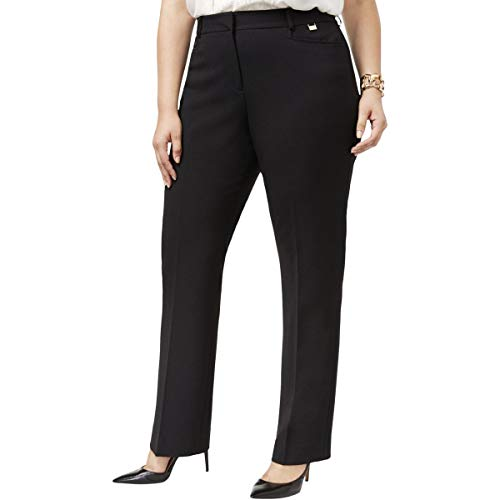 Tahari ASL Women's Plus Size Karina Straight-Leg Pants (16W, Black)