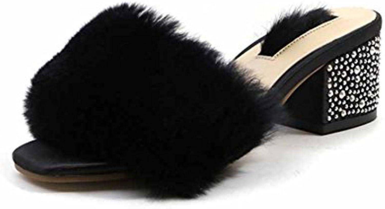 Femmes Mode Peluche Pantoufles Pantoufles Peluche 2018 Printemps Eté Nouveau Strass  s Talons hauts MulesB07CGZBXMCParent ecb375