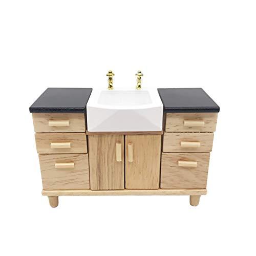 Gaddrt Spielzeug 1:12 Puppenhaus Miniatur Möbel Holz Küchenschrank Pretend Play Spielzeug ()