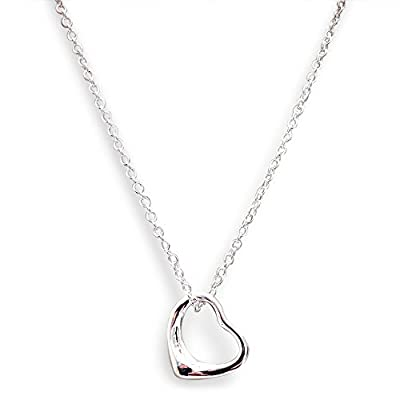925 Stamped Sterling Silver Floating Heart Pendant Necklace in Gift Box