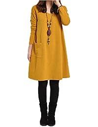 Vestidos, Oyedens Mujeres Otoño Invierno manga larga vestido de bolsillo sólido O cuello informal vestido