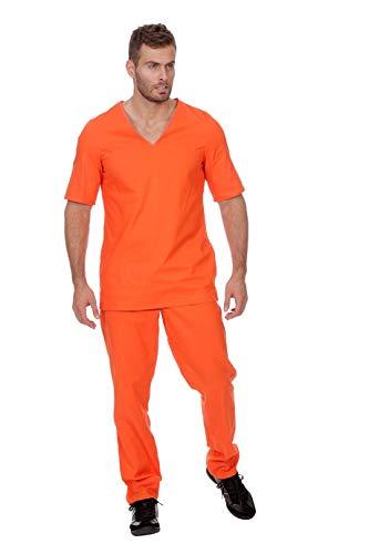 Sträflings-Kostüm Herren Orange Oberteil und Hose mit Gummizug Gauner Ganove Karneval Fasching Hochwertige Verkleidung Fastnacht Größe 60 Orange