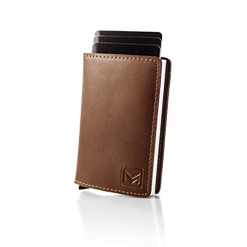 MAGATI MAGATI Slim Wallet Kreditkartenetui aus echtem Leder mit Magnetverschluss, Geldscheinklammer und RFID-Schutzfunktion Dunkelbraun