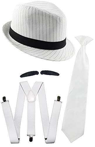 Foxxeo weißes Gangster Kostüm Set für Herren - Hosenträger Krawatte Hut Bart - Fasching Karneval Mafia Motto Party