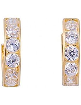 ASS 585 Gold Damen Kinder Ohrringe Creolen 12 mm mit Zirkonia weiß. Neu
