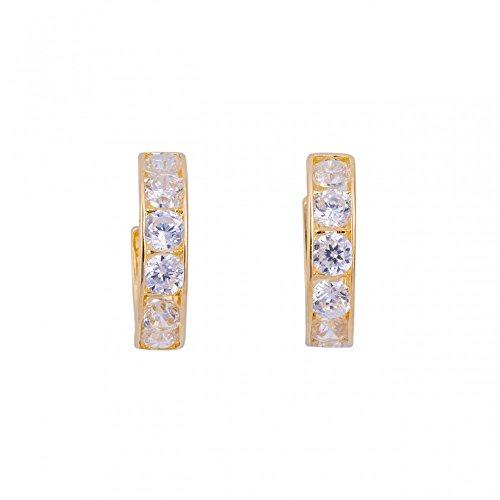 ASS 585 Gold Damen Kinder Ohrringe Creolen 9 mm mit Zirkonia weiß. Neu