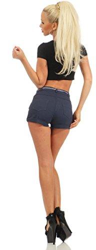 11163 Fashion4Young Damen Hotpants Shorts kurze Hose Hot Pants High-Waist Damenhose Dunkelblau