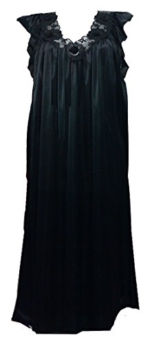 Atemberaubende schwarzem Satin langen Nachthemd mit Spitze nach oben fühlt man sich sexy, Größe (40-44), 3 quartor Länge, 100cm lang (Nachthemd Langen Schwarzen)