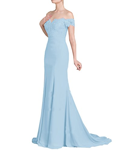 Chiffon- weg-Schulter Mermaid Prom Dresses 2018 Trompete Backless Lace Party-Kleid