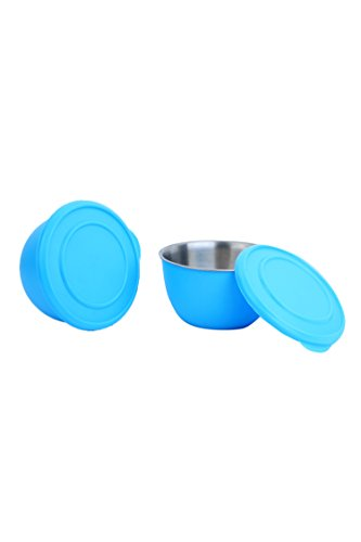 Homeish Metallo Microwave Safe Stainless Steel Plastic Coated Bowls with Lid (Blue) Set of 2 - 13cms
