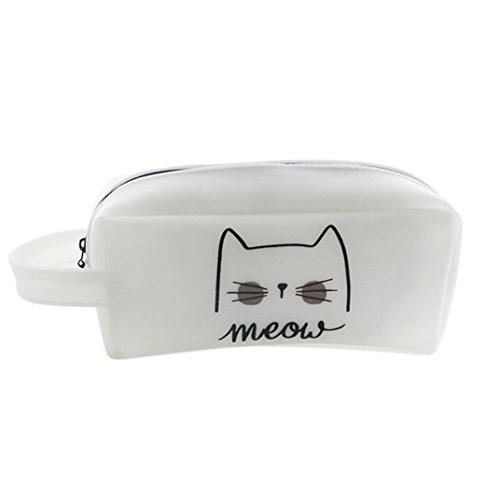 Longra La cassa della matita della stampa del gatto Cassa della matita del gel di silice Grande capacità di ricezione del pacchetto A