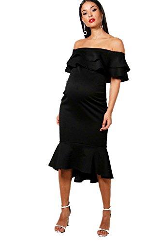 YourPrimeOutlet Black Womens Maternity Julie Off The Shoulder Ruffle Midi Dress