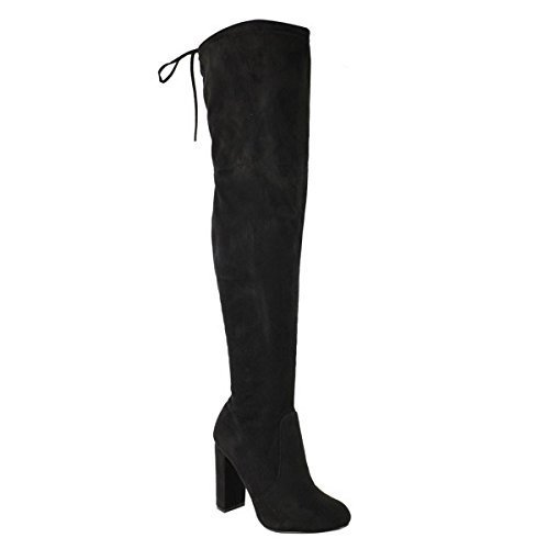 WOMENS LADIES THIGH HIGH BOOTS OVER THE KNEE PARTY STRETCH BLOCK MID...