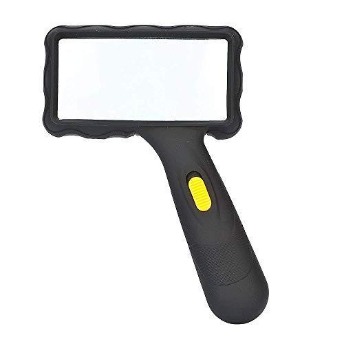 Lupe, 10-fache Vergrößerung mit 2 hellen LED-Lichtern, große Handlupe für kleine Drucke, 95 x 47 mm -