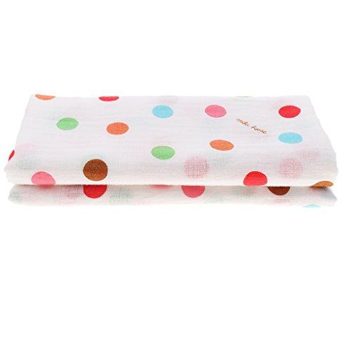 P Prettyia Baby Jungen Mädchen Musselin Swaddle Decke Weiche Baumwolle Tücher Pucktücher Tuch Mullwindeln für Babybett Kinderwagen - Punkt