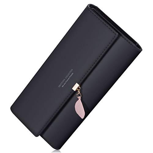 Geldbörsen, Portemonnaies Damen Elegant Leder Lang Geldbeutel Portemonnaie Mit Blatt Anhänger Kartenhalter (Schwarz) 10 Blättern